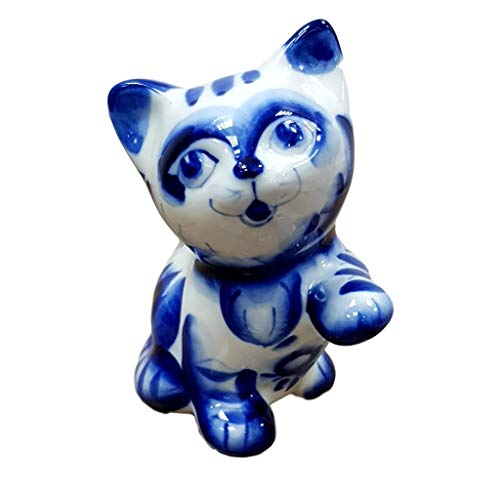 Russian Gzhel Handmade Porcelain Figurine Souvenir Cat Kotic Shipped Directly from Russia.