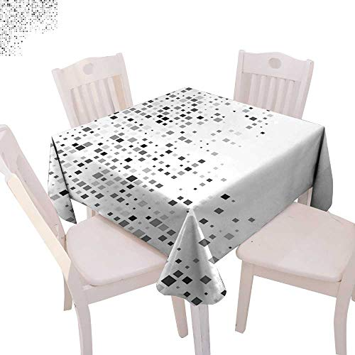 (cobeDecor Grey Stain Resistant Wrinkle Tablecloth Digital Pattern Composed of Geometric Elements Radiant Rectangle Parallel Picture Print Square Wrinkle Resistant Tablecloth 54