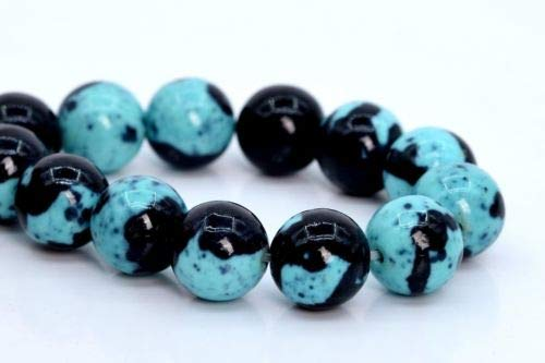 10mm Aqua Blue Black Rain Flower Jade Beads Grade Round Loose Beads 7.5'' Crafting Key Chain Bracelet Necklace Jewelry Accessories Pendants