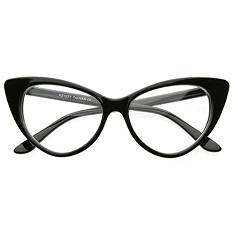 9e4ec06ed4 Buy Super Cat Eye Glasses Vintage Inspired Mod Fashion Clear Lens Eyewear  (Black) Online at Low Prices in India - Amazon.in
