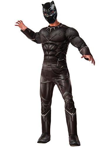 Rubie's Men's Captain America: Civil War Deluxe Muscle Chest Black Panther Costume, (Marvel Halloween Costume)