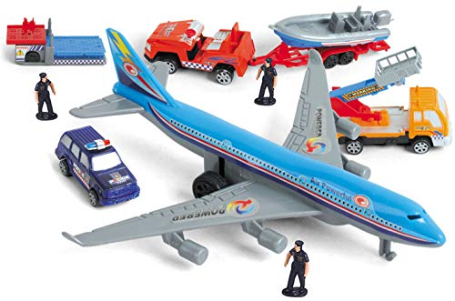 PowerTRC Deluxe 57-Piece Kids Airport Playset in Storage Bucket with Toy Airplanes, Play Vehicles, Police Figures, and Accessories