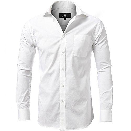 - diig Dress Shirt for Men - Slim Regular Fit Work Shirt, White Red Blue XS M 2 XL (White, Large/ 16)