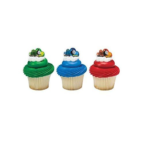 Unbranded Thomas The Tank Train Engine (12) Cupcake Decorating Party Favor Topper Rings T]()