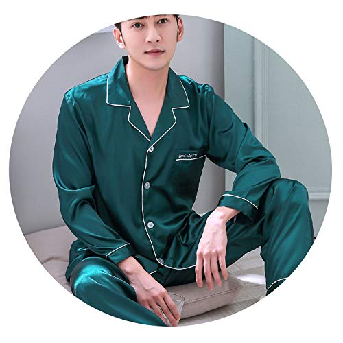 crack of dawn Summer Pajama Men ice Silk Long Sleeves Thin Leisure Nightgown Sleepwear Suit Nightwear,StyleA,XL ()