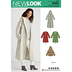 """This Misses' double-faced coat with a hood can be made in multiple lengths and includes pocket variations. Intended for double-faced or reversible fabrics only. Click """"Envelope Back"""" directly above for more information. New Look sewing patter..."""