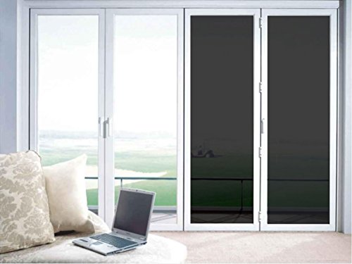 Adhesive-free Peel & Stick Static Cling No Glue One Way Mirror Daytime Privacy and Solar Control Window Glass Film, Sun Blocker, 19.7 Inches by 78.7 Inches per Roll, Black Grey (Light Blocker)