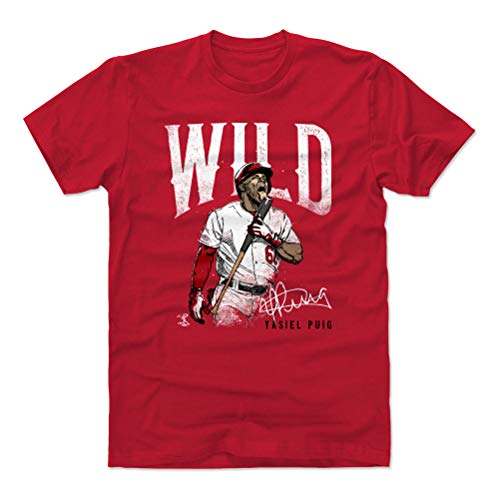 500 LEVEL Yasiel Puig Cotton Shirt (Medium, Red) - Cincinnati Reds Men's Apparel - Yasiel Puig Wild W WHT
