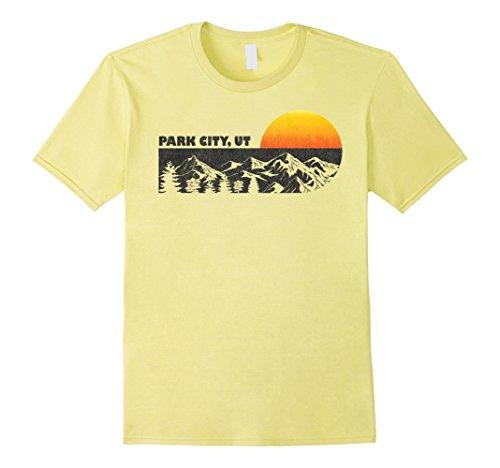 Mens Retro Park City Utah Mountain Sunset T-Shirt 2XL Lemon
