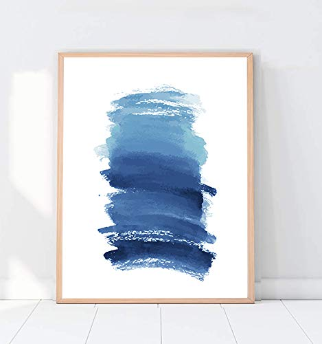 Watercolour Wall Art Print, Abstract Painting, Modern Minimalist, Navy Blue Decor, Large Poster Ink Brush Stroke - 8x10 - Unframed (Art Blue Abstract Navy)