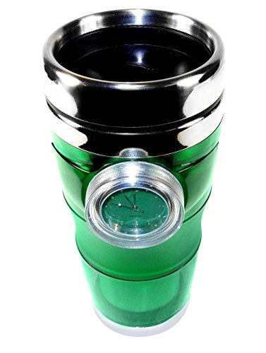 Time Mug Travel Cup with Built-in Watch, 16 ounces - Dishwasher Safe - Green.
