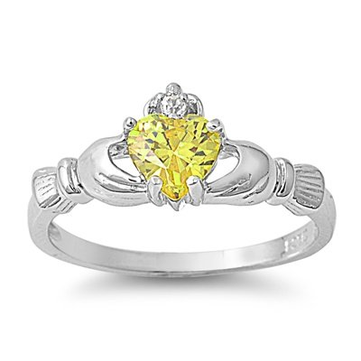 Wellingsale Ladies 925 Sterling Silver Polished Rhodium Simulated November Citrine Color Heart CZ Irish Celtic Claddagh Ring, AAA Grade Highest Quality - Size 6