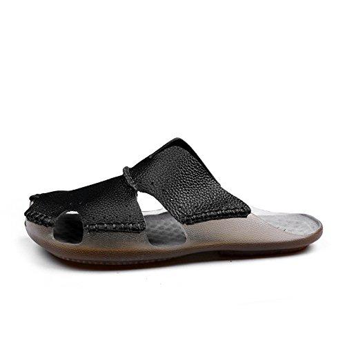 vera pelle sandali estate sandali sandali traspirante Spiaggia scarpa Uomini estate Tempo libero scarpa ,nero,US=9,UK=8.5,EU=42 2/3,CN=44