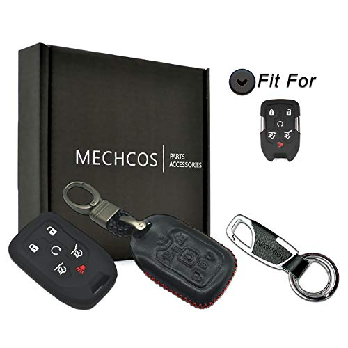 - MECHCOS Compatible with fit for 2015 2016 2017 2018 2019 Chevrolet Suburban Tahoe, 2015-2018 GMC Yukon XL 6 Buttons Leather Smart Key Fob Cover Case Remote Skin Keyless Jacket Holder Protector Black