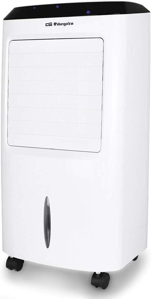Orbegozo AIR 52 - Climatizador portátil evaporativo 3 en 1: climatizador, purificador de aire y humidificador, 3 velocidades, temporizador hasta 8 horas, mando a distancia, 65W de potencia