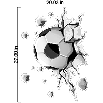 Peel and Stick Flying Soccer Ball Decal Sticker Removable Wall Art
