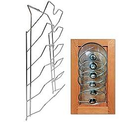 Kitchen Evelots Pot Lid Storage-Cabinet Door/Wall-Organizer-6 Pot/Pan Covers-Chrome pot lid holders