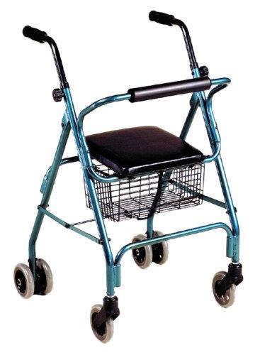 ITA-MED 4-Wheel Aluminum Rollator Walker with Loop Breaks, 6-inch Wheels, Blue