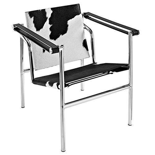 Le Corbusier Lounge (Modway Charles Pony Hide Lounge Chair in Black and White)