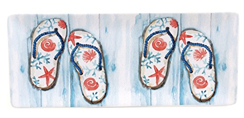 In The Moment Summer Flip Flops on Pier Serving Tray Ceramic 11 Inches