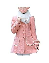 Merryway Girl's Elegant Faux Fur Woolen Collar Fashion Warm Blended Winter Coat Lace Flower Princess Bowknot Jacket 3-10Y