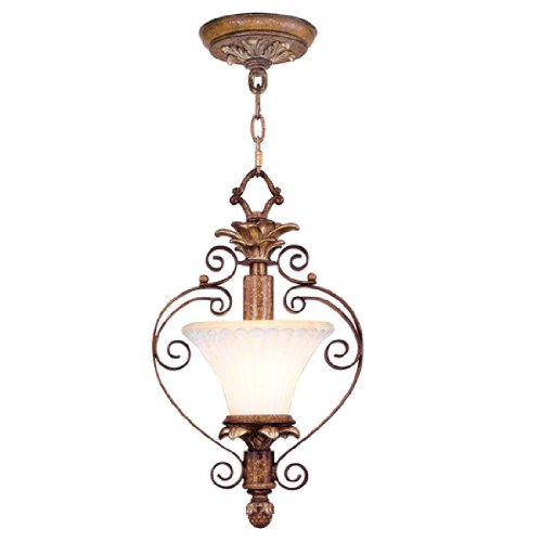 Livex Lighting 8421-57 Savannah 1 Light Venetian Patina Finish Flush Mount/Hanging Lantern Mini Pendant with Vintage carved Scavo Glass