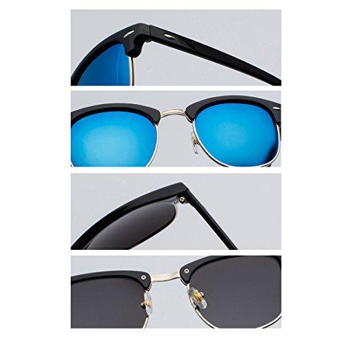 verres UV400 monture demi avec Lunettes hommes Gris Femmes soleil polarisés rétro de Or Noir Yefree Yz0Pwxq