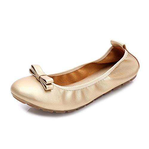 de Planos Zapatos Antideslizantes cómodos EU Oro Plegables Suave Zapatos Mujeres Zapatos UE únicos Baja Boca de de Fondo para Maternidad de Ballet Zapatos FLYRCX 36 39 xqZP7aw