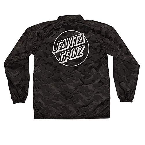 (Santa Cruz Skateboards Opus Dot Coach Windbreaker Men's Long Sleeve Jacket - 3D Black Camo - XXL )