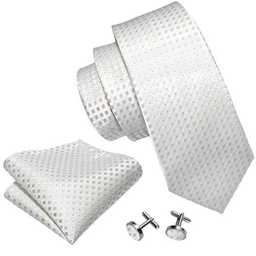 Cufflinks Designer - Barry.Wang Plaid Ties Set Silk Handkerchief Tis Clips Cufflink Beige