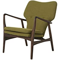 Impacterra QLEH17151362 Elizabeth Club Chair, Euro Walnut Wood/Green