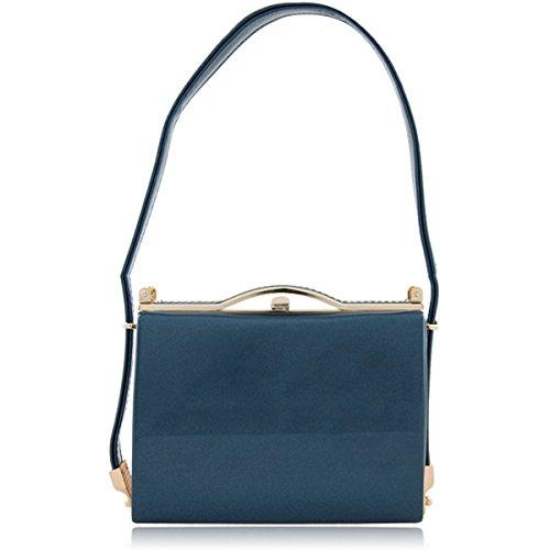 Xardi London New media da donna sera borse brevetto Prom signore frizione spalla borse sella Shimmer Blue