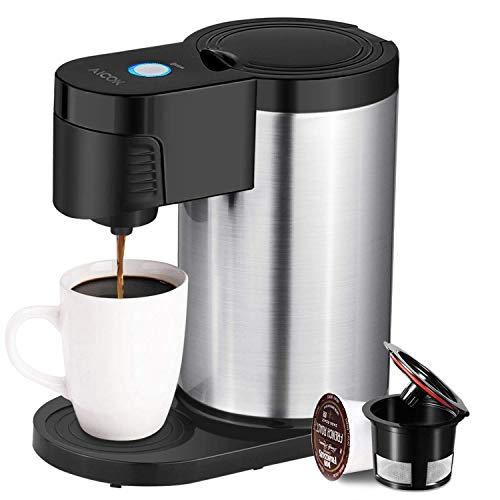 Aicook Single Serve Coffee Maker, Single Cup Coffee Maker for Most K Cup Pods, One Cup Coffee Maker with Stainless Steel Body, 1000W