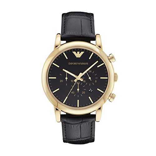 (Emporio Armani Men's AR1917 Dress Black Leather Watch)
