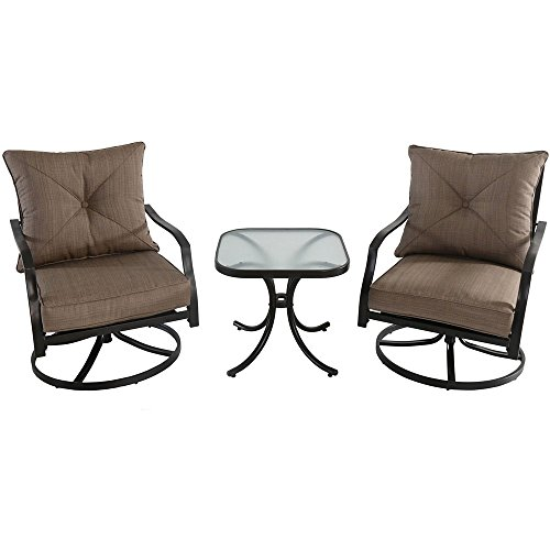 Hanover PALMBAY3PC-TAN Palm Bay 3-Piece Swivel Chat (3 Piece Swivel Rocker)