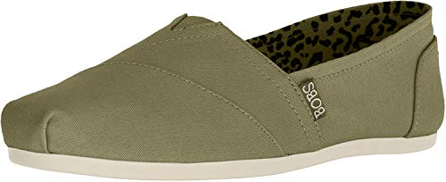 Skechers BOBS Women's Bobs Plush-Peace & Love Sneaker, Olive, 8 M US (Flat Shoes Green)