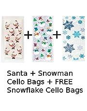 Unique Party BPWFA-4257 Christmas Santa Snowman and Snowflake Cello Bags Pack
