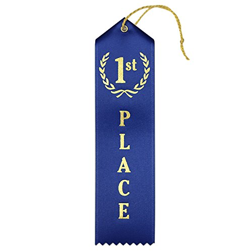 (1st Place (Blue) Premium Award Ribbons with Card & String - 25 Count Metallic Gold foil Print - Made in The USA)