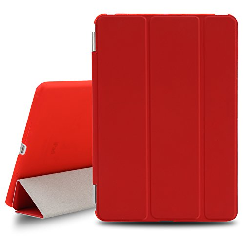 BESDATA Ultra Thin Magnetic Smart Cover for Apple iPad Mini 1st Generation [Wake/Sleep Function] Translucent Back Case + Screen Protector + Cleaning Cloth + Stylus (Red) (Ipad Mini Case Generation 1)