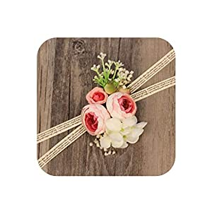 WeddingWrist Corsages and Boutonnieres Silk Rose Corsages Prom Long Ribbon Artificial Wrist Flowers,PK 1