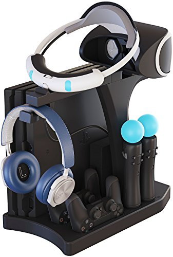 Skywin PSVR Charging Display Stand - Showcase, Cool, Charge, and Display your PS4 VR - Playstation 4 Vertical Stand, Fan, Controller Charger and Hub 2