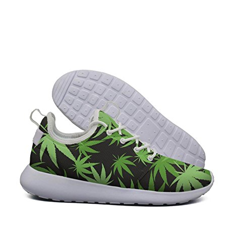 YANYANGer lightweight new mesh sneaker green cannabis on black womens ladies Climbing track running shoes by YANYANGer