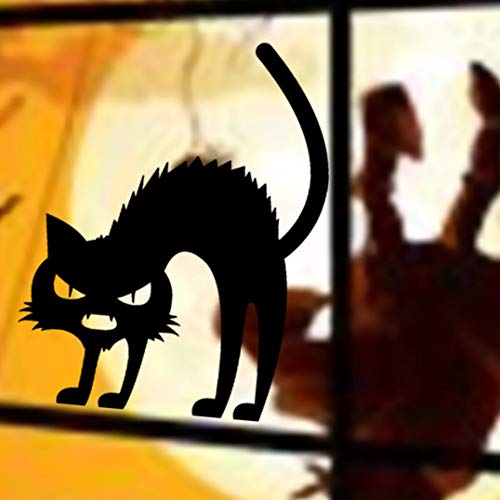 FimKaul Black Cat Removable Window Wall Sticker for Halloween Home Decoration for Kids Rooms Nursery Halloween Party (B) -