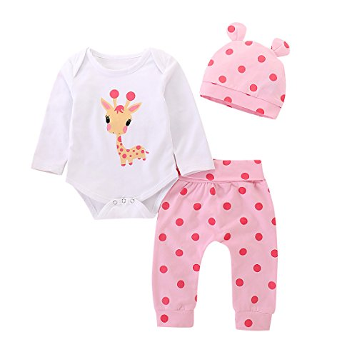 (AILENFEISO Newborn Toddler Baby Girl Outfits Giraffe Bodysuit Top + Pink Legging Pants Set with Hat Infant)