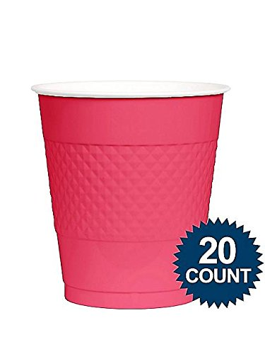 Amscan BB100318 Hot Pink Plastic Cups, 12 Oz.