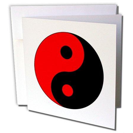 3d Rose 3dRose Black N Red Ying Yang Greeting Cards, Set ...