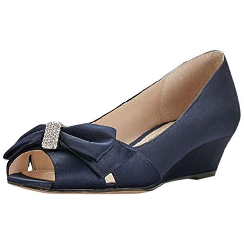 Bow Peep Toe Wedge (Peep Toe Mini-Wedges With Bow Detail Style RAIYANA, Navy, 9.5)