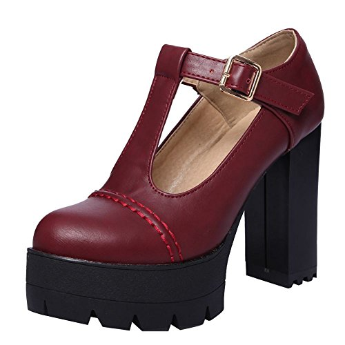 Carolbar Women's T-Strap Retro Punk Lolita High Heel Platform Mary Janes Shoes (7.5, Wine Red)