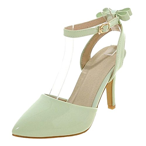Shoes Solid Bow Coolcept Green Women Heels Strappy Sandals fqxxgSF7