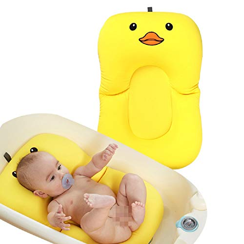 Baby Bath Cushion Newborn Lounger Infant Sponge Pad Skid Proof Protect The Spine Put in Bathtub (Duck)
